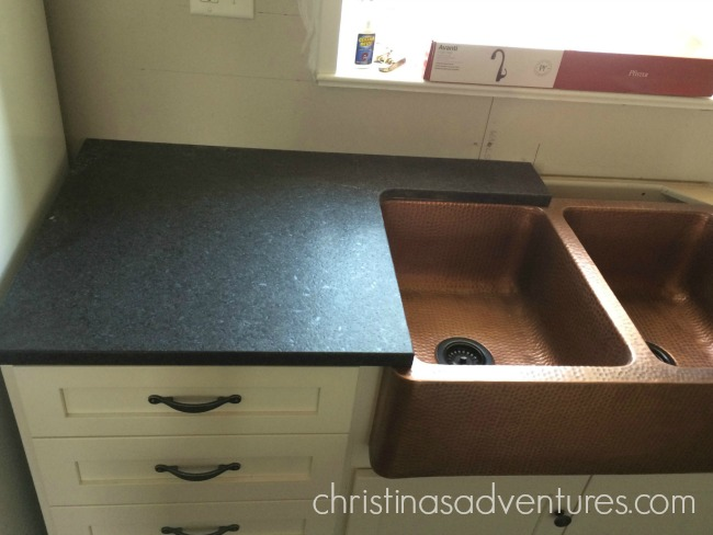 Black Matte Granite Counter Tops Being Installed