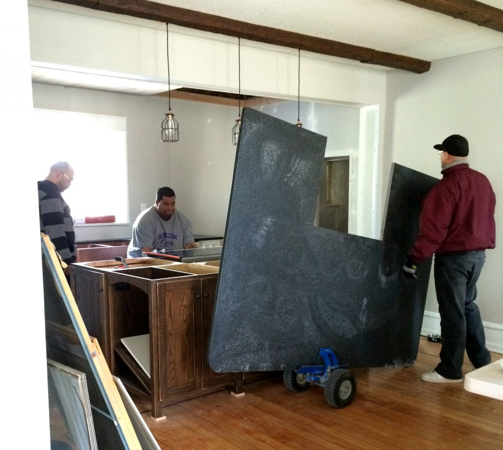leathered granite island counter top installation