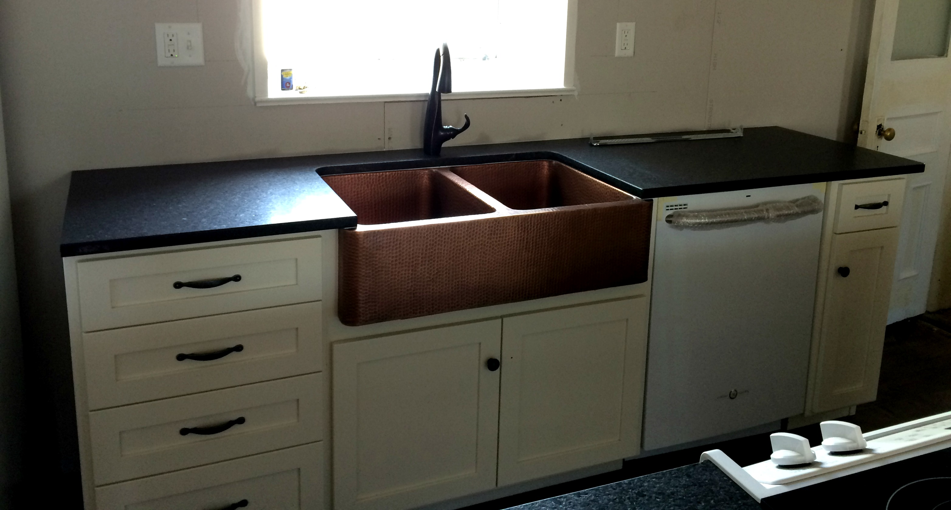 Black Granite Countertops Wood Island Leathered Granite Countertops  Installed