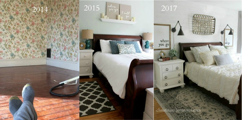 bedroom progression through the years of this fixer upper