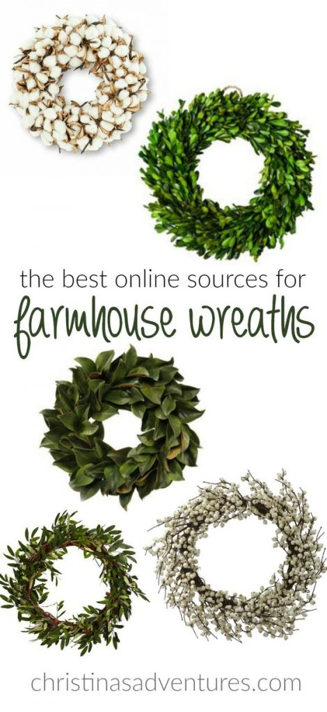 Fixer upper style farmhouse wreaths for all budgets! The best sources to find cotton, boxwood, magnolia, berry, and floral wreaths (and more!)
