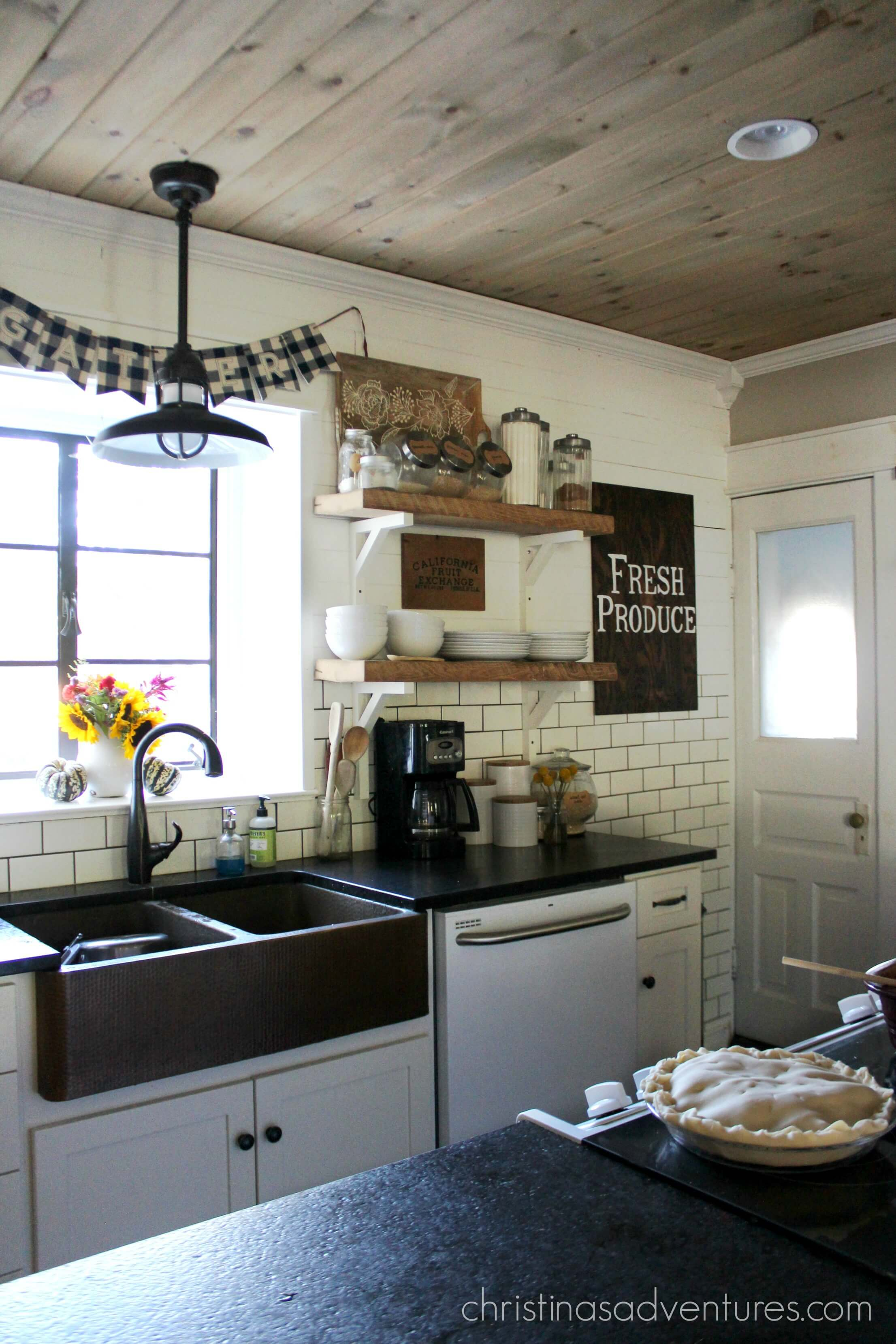 Farmhouse fall kitchen christinas adventures for Open style kitchen cabinets