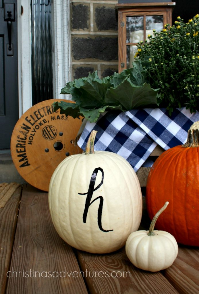 white-monogram-pumpkin-on-the-front-porch