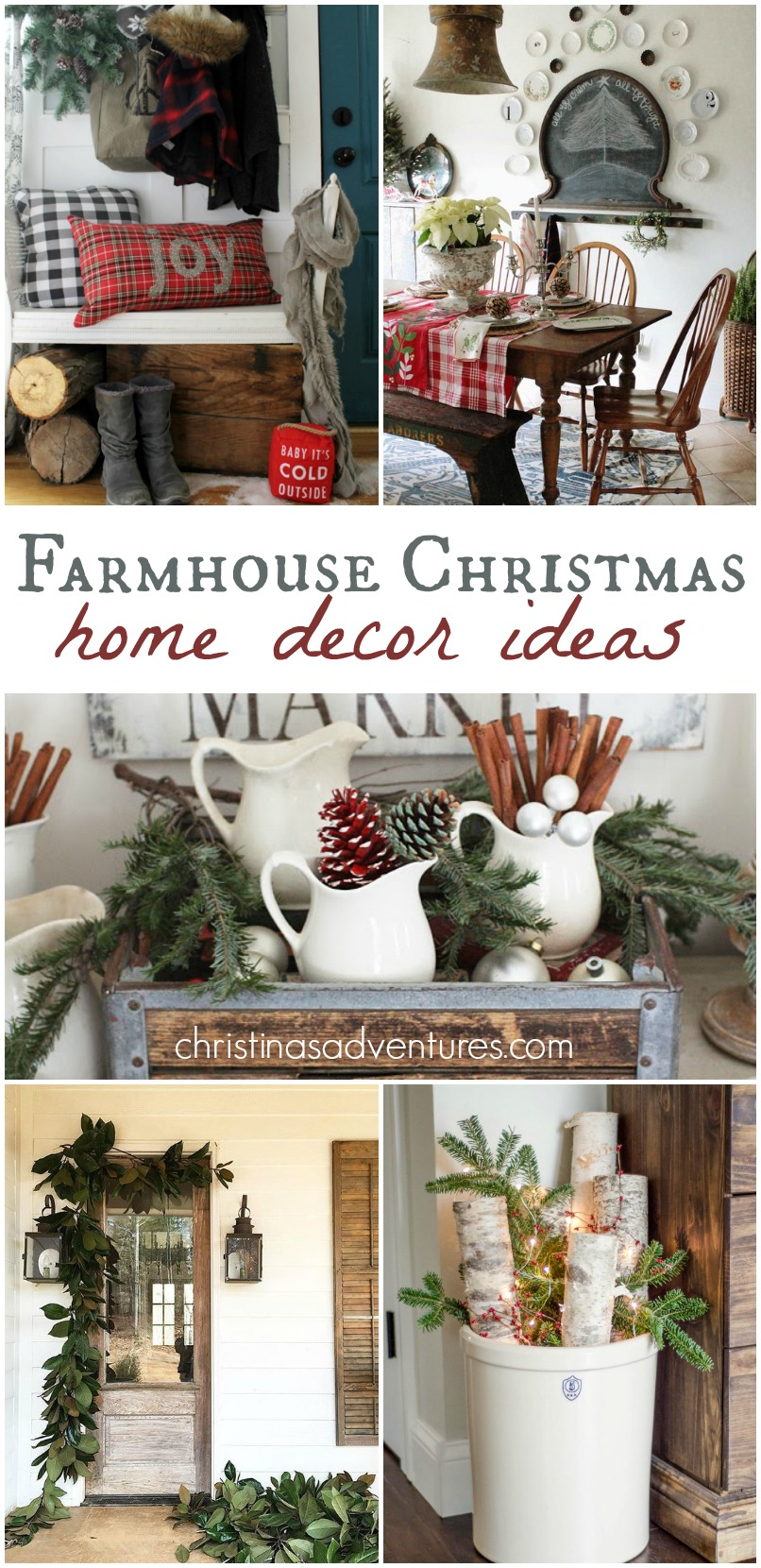 Farmhouse christmas decorating ideas christinas adventures for Christmas home decorations pinterest