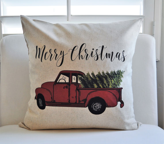pillows are absolutely my favorite way to change out my home decor with each season how cute is christmas truck pillow