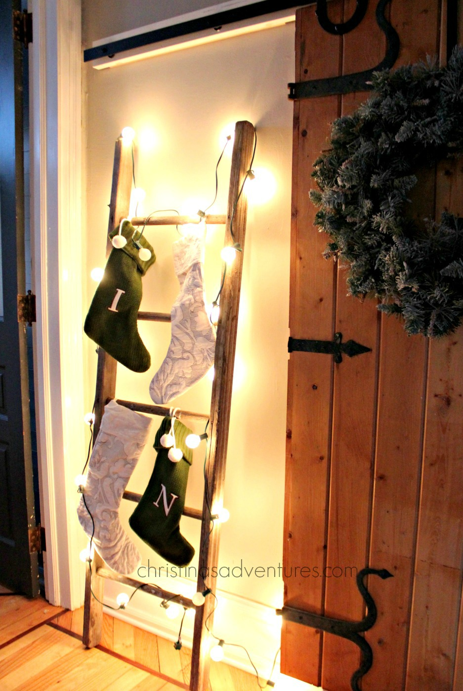 How to hang stockings on a ladder