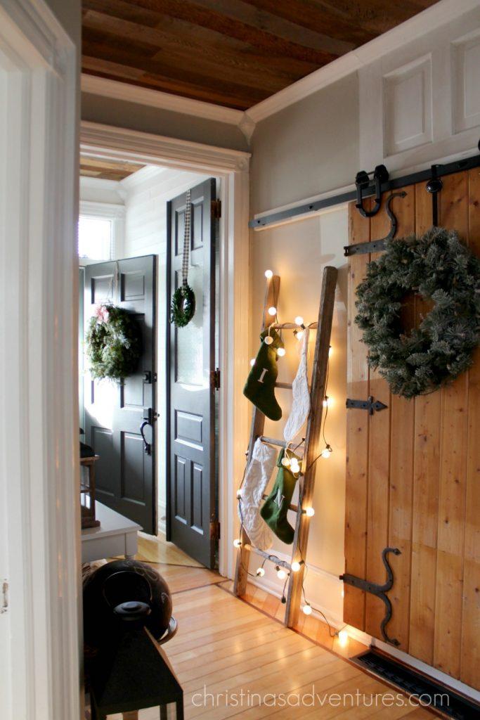 farmhouse Christmas hallway