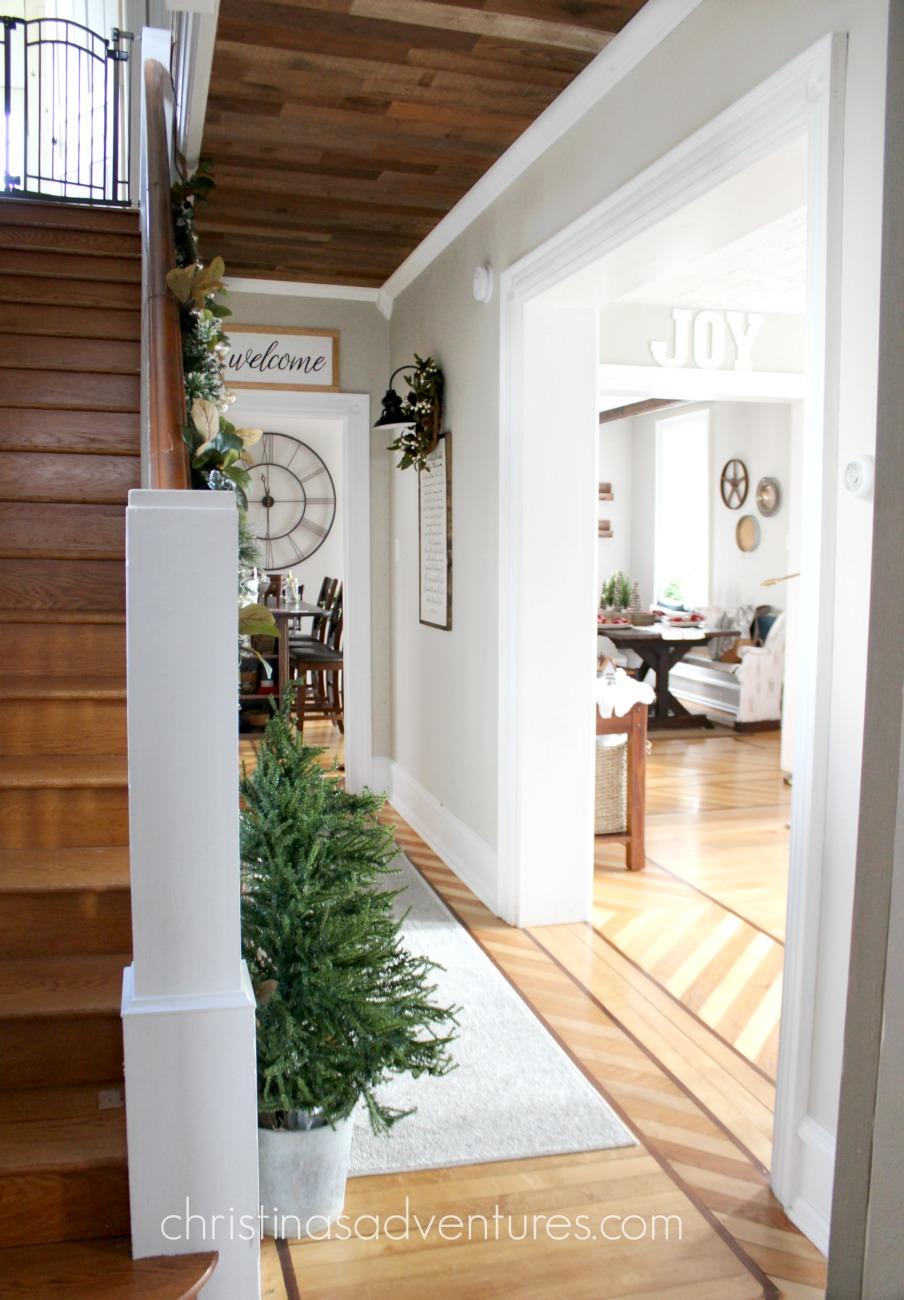 Farmhouse Christmas Hallway Decorating Christinas Adventures