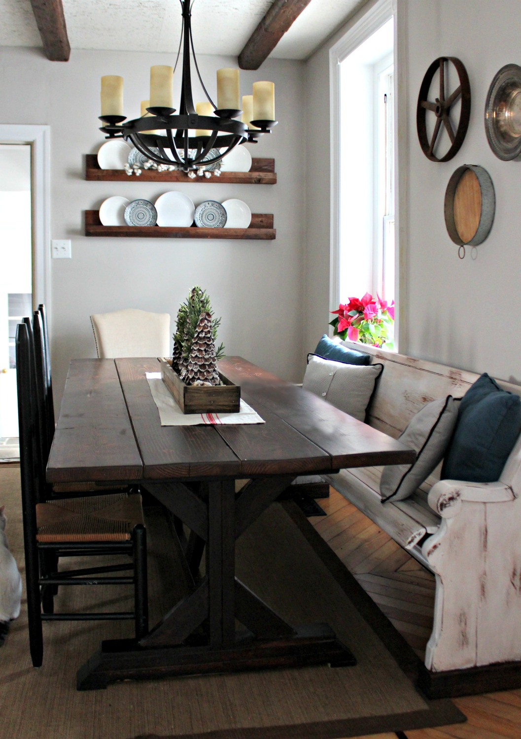 Transitioning from christmas to winter decor christinas for Farmhouse style kitchen table