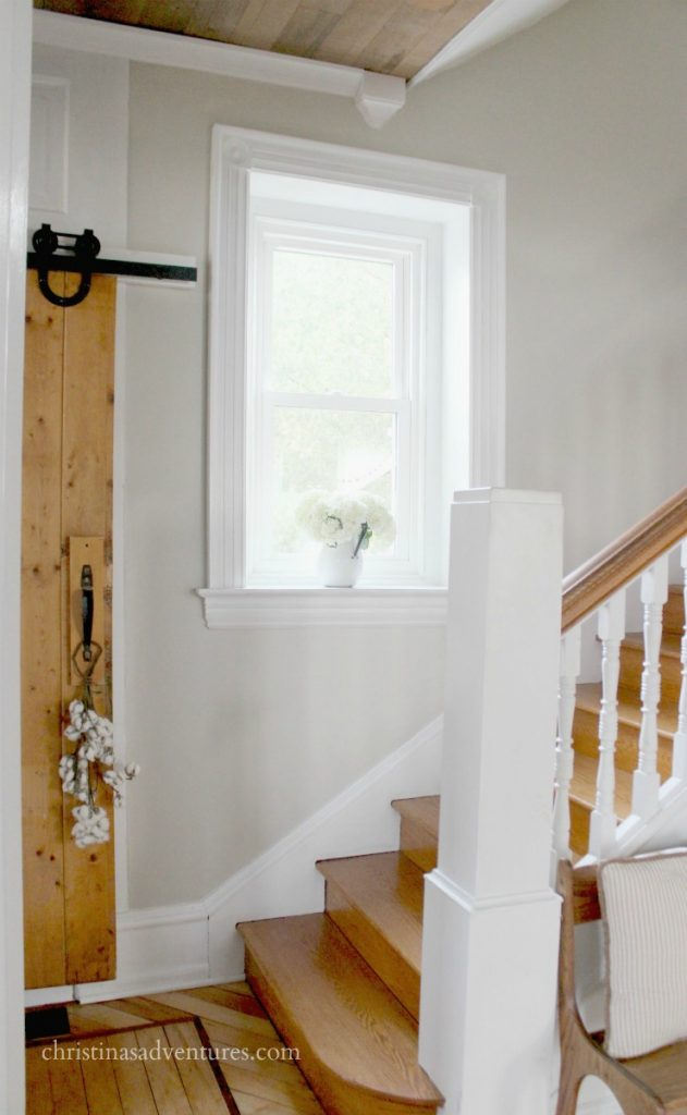 wooden staircase barn door