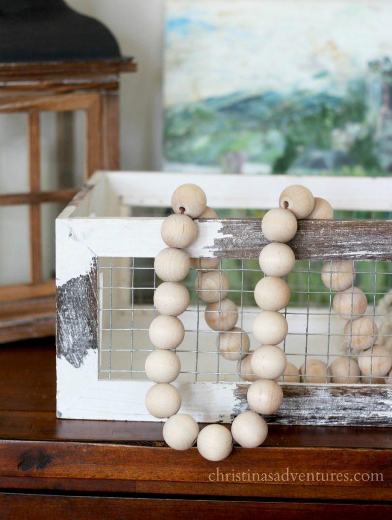 DIY farmhouse wood bead garland