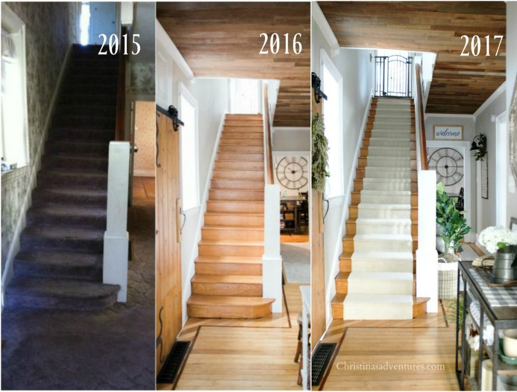 1902 vintage Victorian home, farmhouse style makeover renovation: Stairs - Stairway