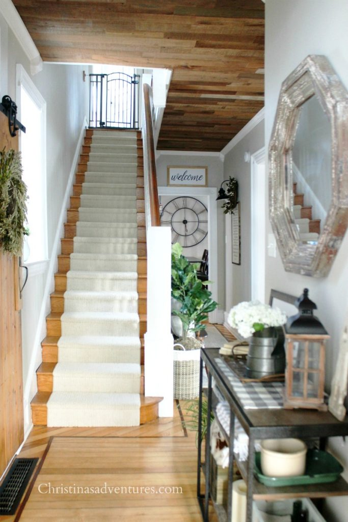 Cream Stair Runner Wood Stairs