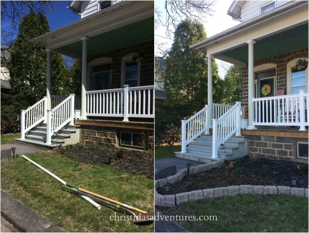 front porch steps before and after garden edging