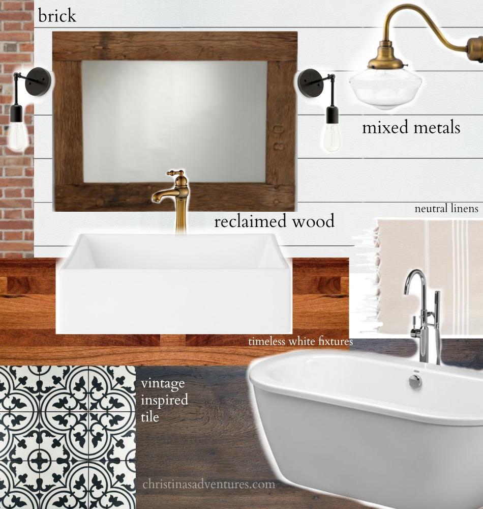 vintage inspired farmhouse bathroom plan - orc week 1 - christinas