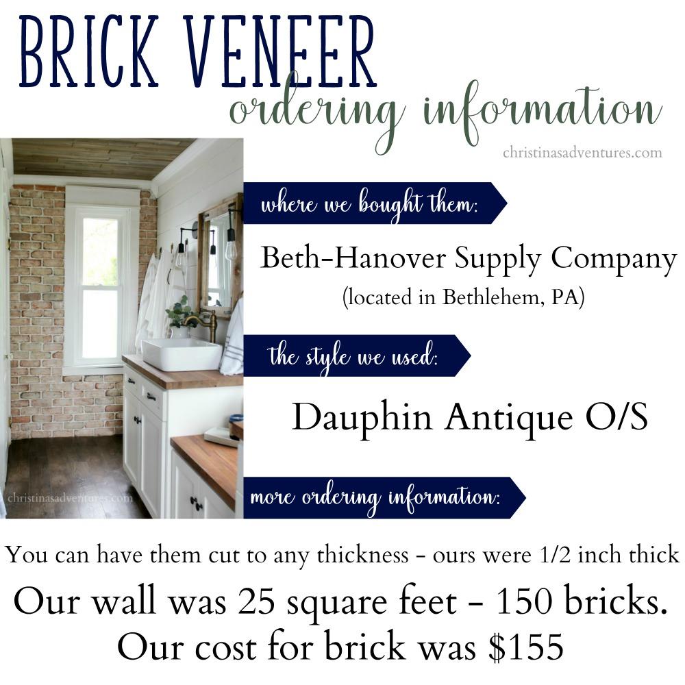 brick veneer ordering information