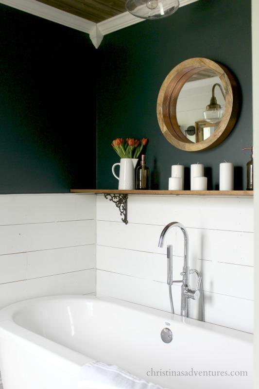 Benjamin Moore Salamander walls white shiplap American Standard freestanding bathtub