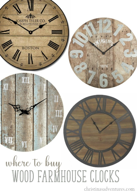 Where Can I Buy A Clock Part - 25: Where To Buy Wood Farmhouse Wall Clocks (clockwise From The Top Left)