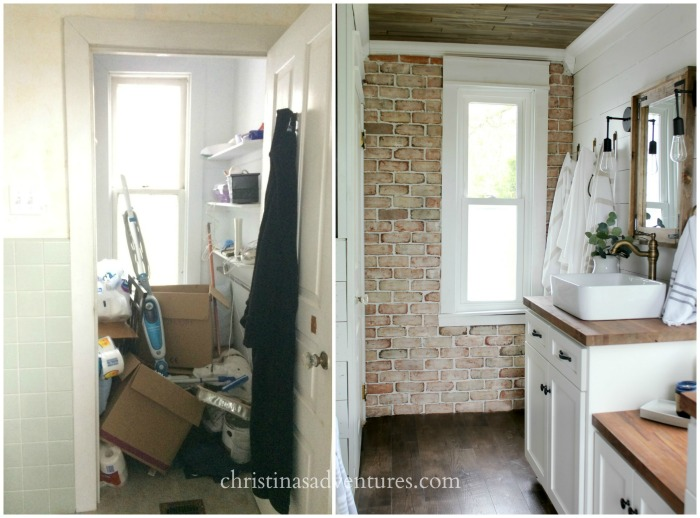 Before and after DIY bathroom makeover with farmhouse flair