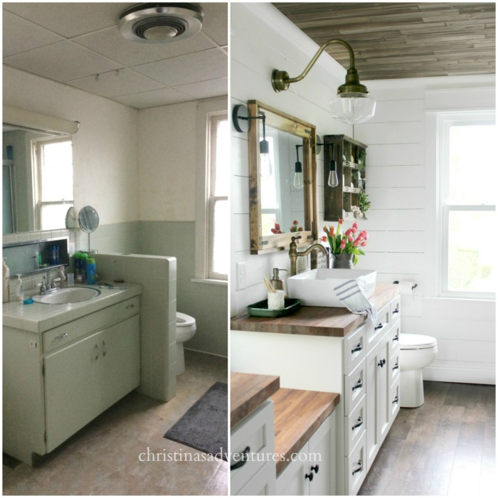 fixer upper before and after farmhouse bathroom