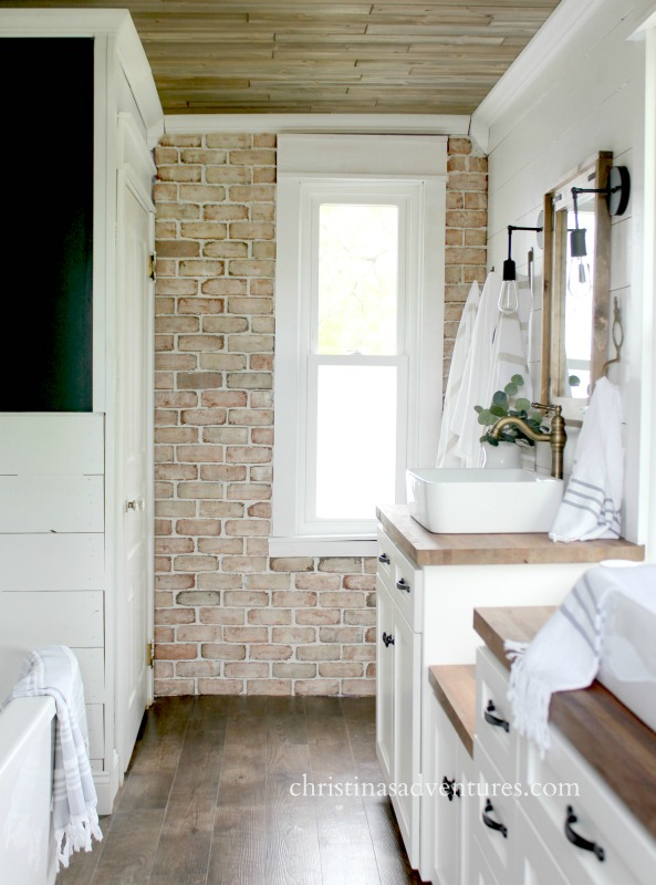 Brick Veneer Wall Shiplap And Wood Ceiling Bathroom Design