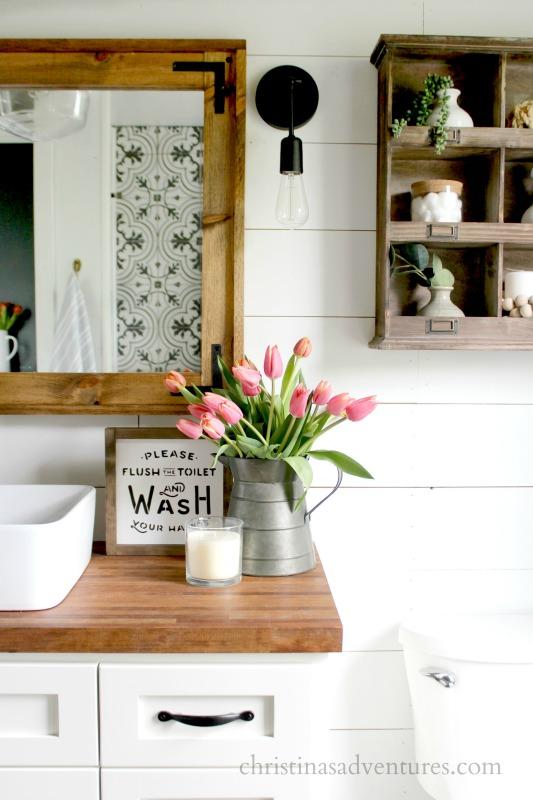 butcher-block-counter-bathroom-wood-framed-mirror
