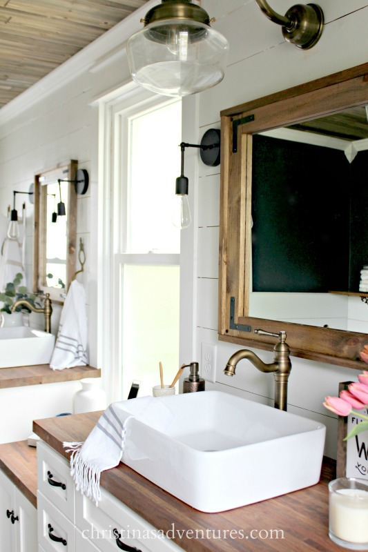Bathroom Mirrors Farmhouse diy wood framed bathroom mirror - christinas adventures