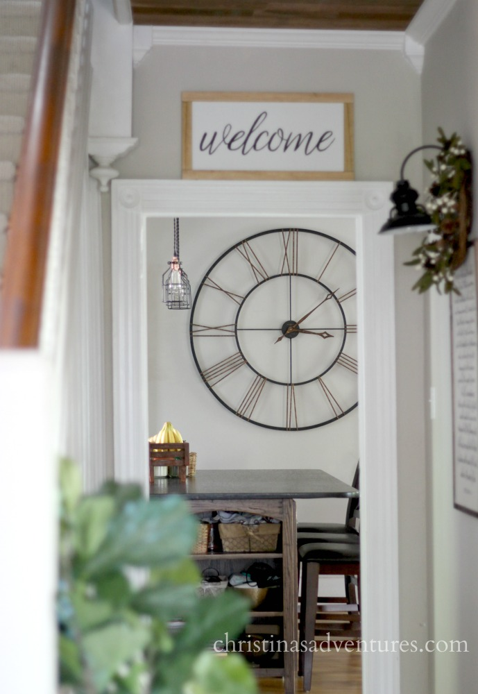 large farmhouse wall clock in the kitchen
