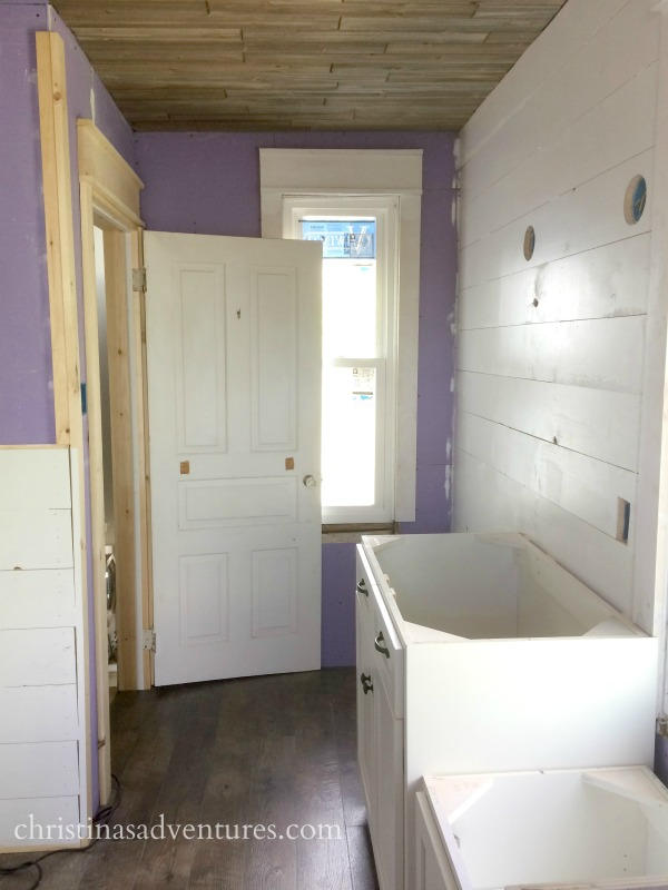 Bathroom Renovation Progress Ceiling Cabinets Amp Shiplap
