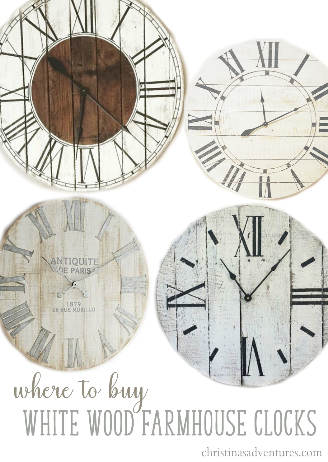 Where Can I Buy A Clock Part - 39: Where To Buy White Wood Farmhouse Wall Clocks (clockwise From The Top Left)