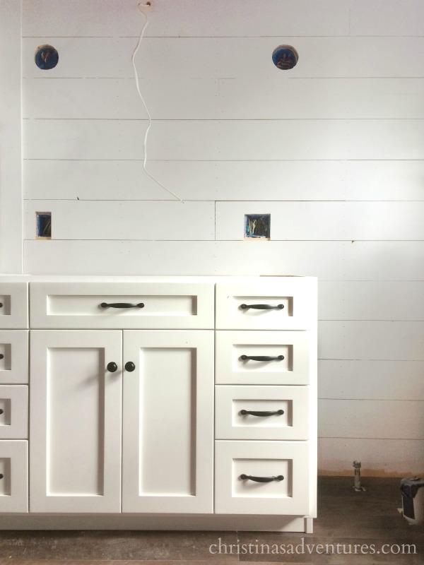 Bathroom renovation progress: ceiling, cabinets & shiplap: ORC week 5