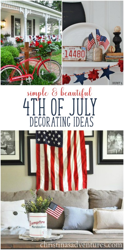 Get in the mood for some patriotic home decor with these inspiring ideas for 4th of July decorations. Simple and beautiful decorating ideas.