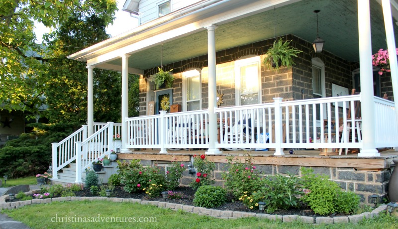 front porch steps and garden