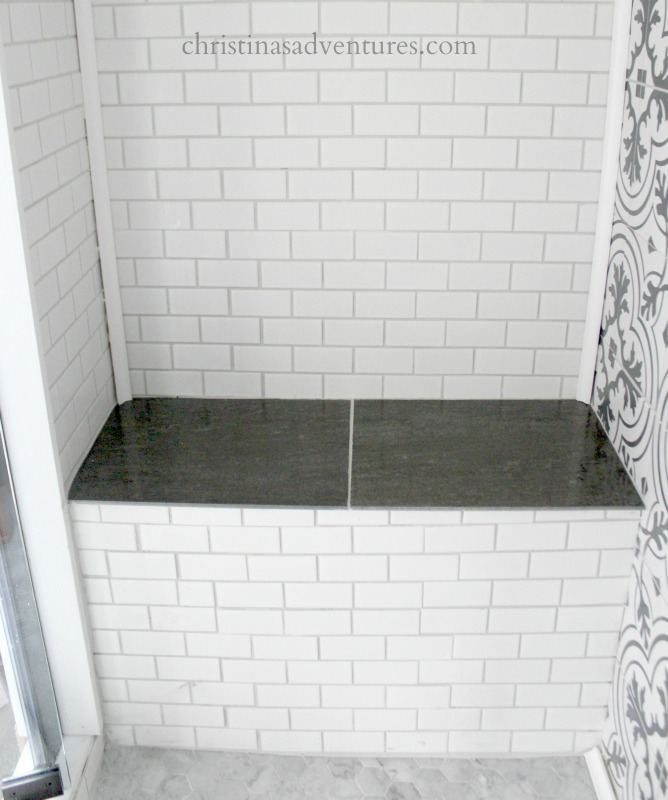 slate tile topped bench shower seat