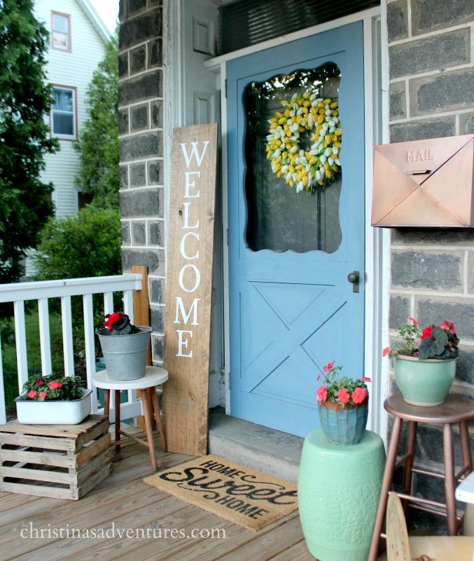 summer porch front door decorating tulip wreath vintage bucket and home sweet home doormat