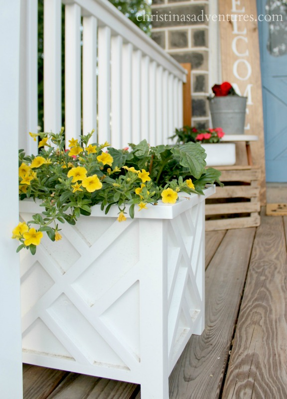 white outdoor planter for the front porch