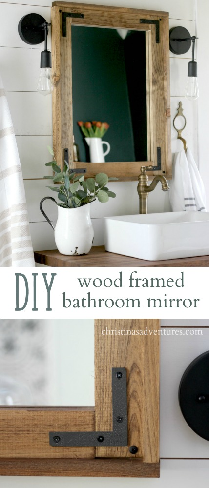 Bathroom Mirror Diy diy wood framed bathroom mirror - christinas adventures