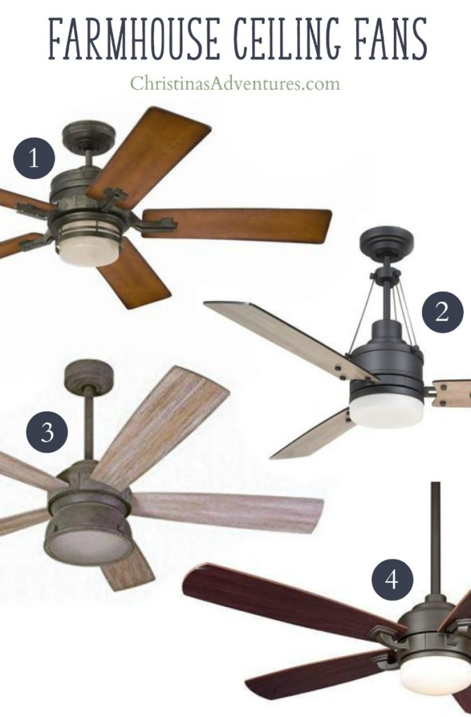 Farmhouse ceiling fans with wood blades one light