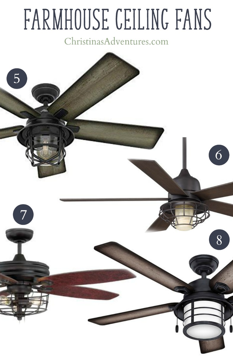 Farmhouse Ceiling Fans With Cage Lighting 5