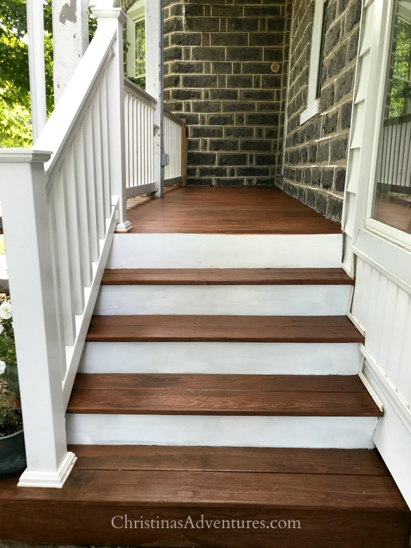 porch steps white and wood