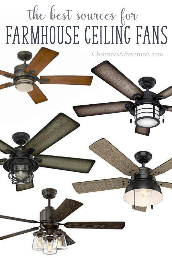 The best places to find farmhouse ceiling fans online - many rustic and industrial styles for any budget!