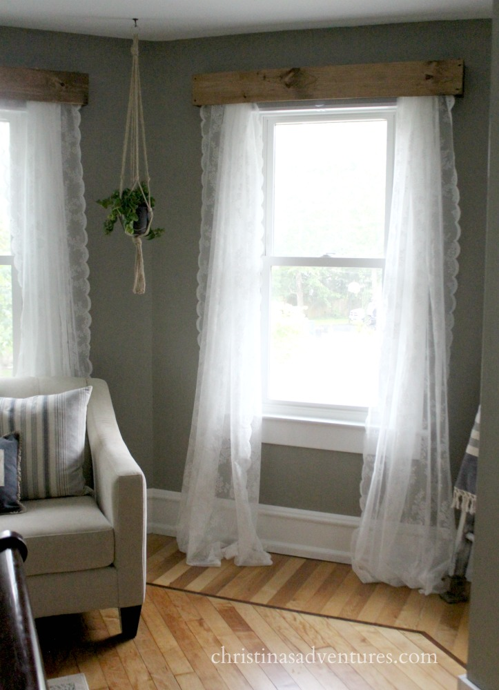 window valence wood with lace curtains