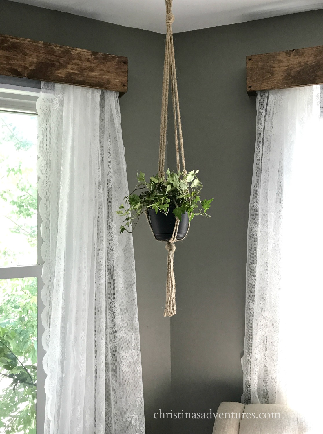 Diy Wood Window Valance With Lace Curtains Dark Gray Walls And A Hanging Rope Planter