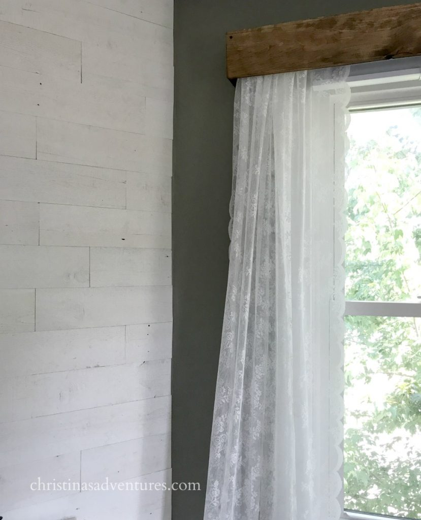 DIY wood valance with lace curtains dark gray walls and white wood planked wall