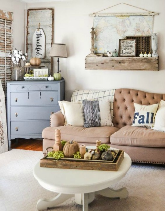 Fall family room decorating ideas - This room from My Creative Days is beautiful & simple - take a note from her and consider adding some typography to convey a comfortable, casual feel.