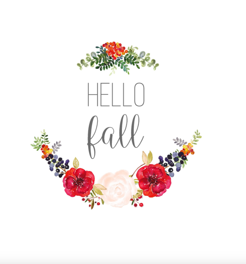 hello fall floral free printable
