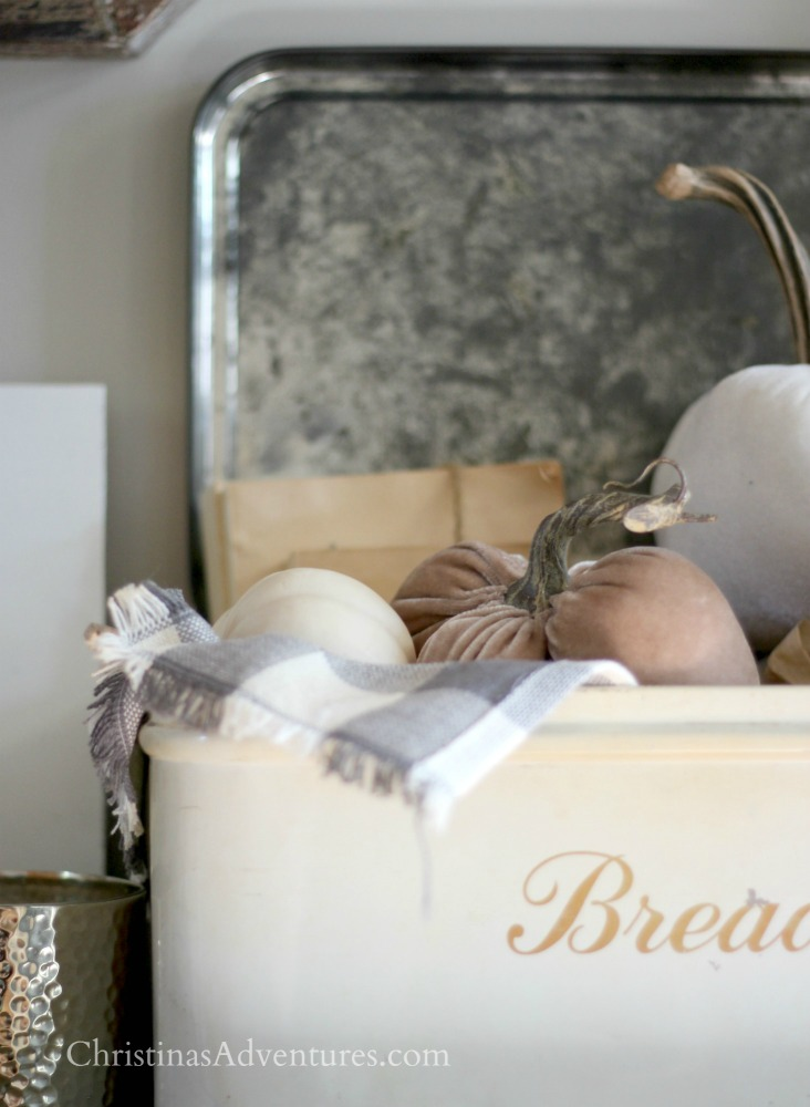 antique bread box with buffalo check and velvet pumpkins