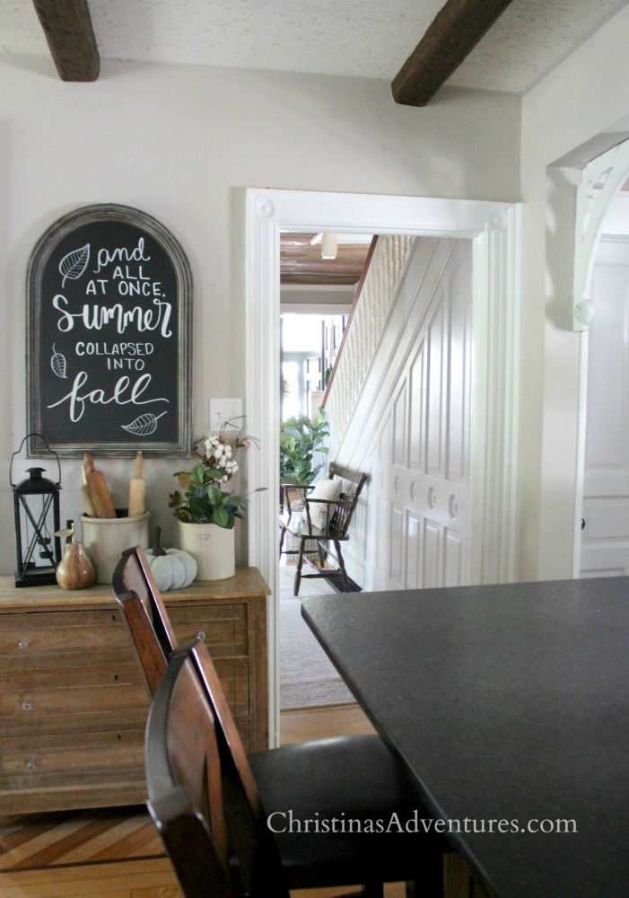fall chalkboard farmhouse kitchen old house wood beams