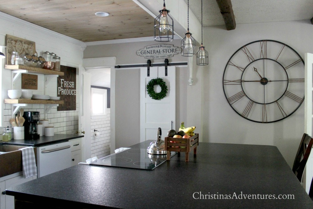 farmhouse kitchen barn door large clock