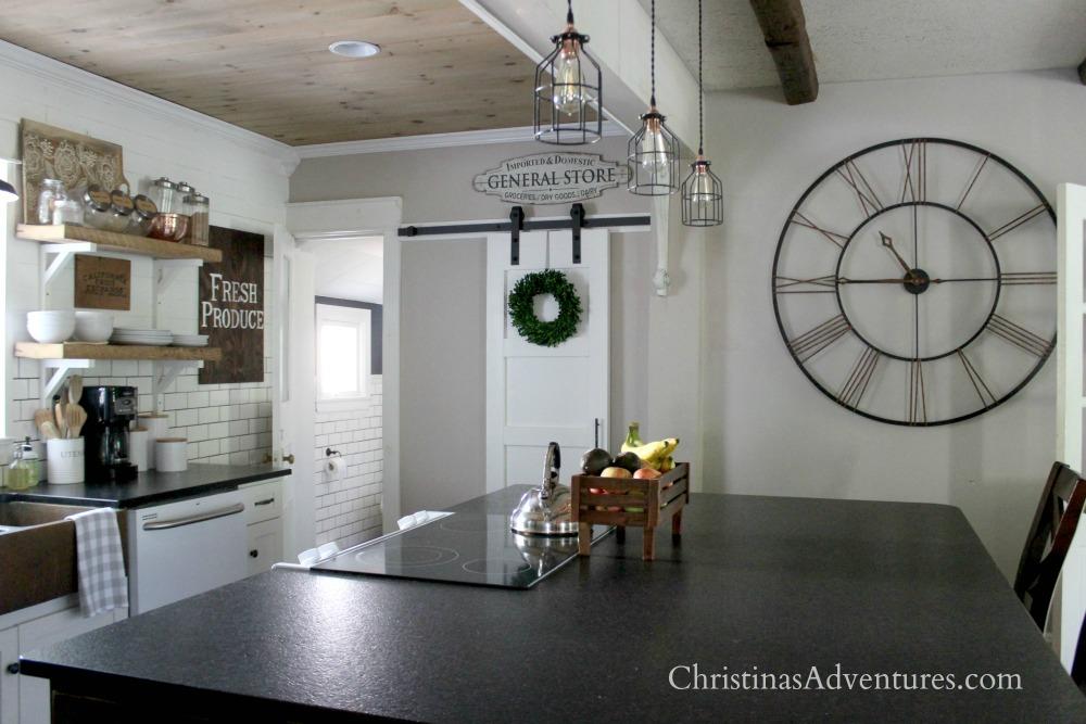 farmhouse kitchen barn door large clock
